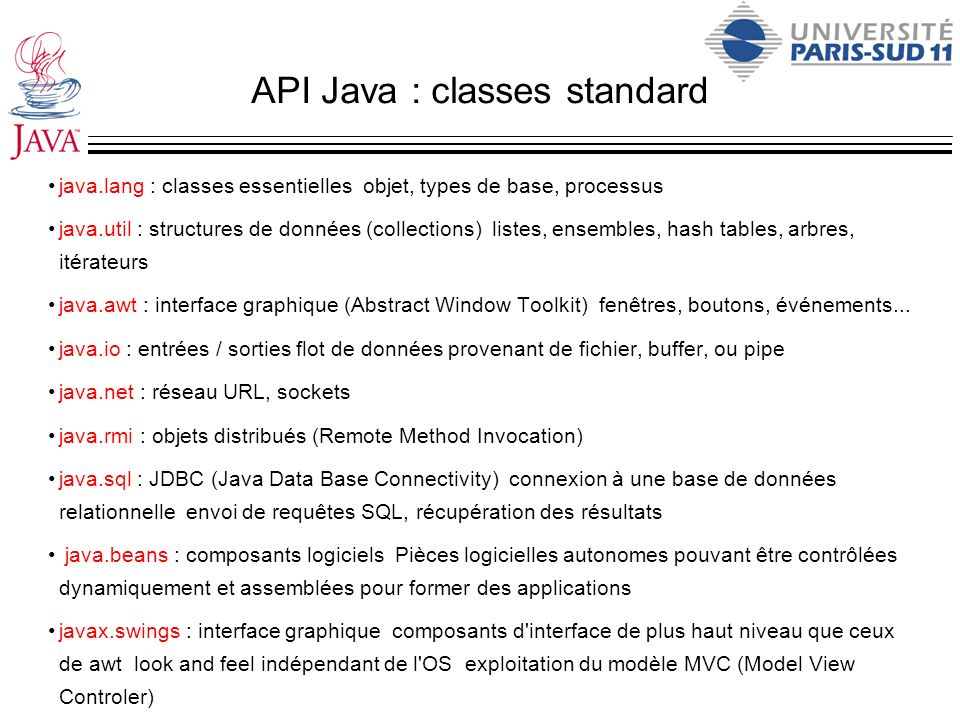 API Java : classes standard java.lang : classes essentielles objet, types de base, processus java.util : structures de données (collections) listes, e
