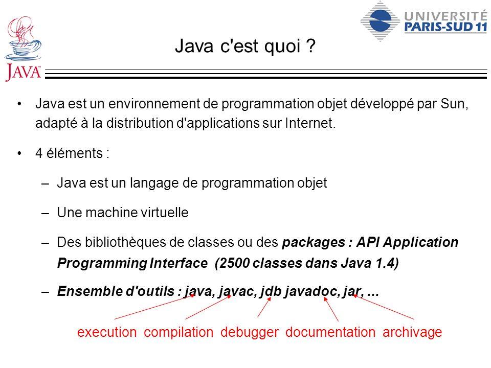 Java c'est quoi ? Java est un environnement de programmation objet développé par Sun, adapté à la distribution d'applications sur Internet. 4 éléments