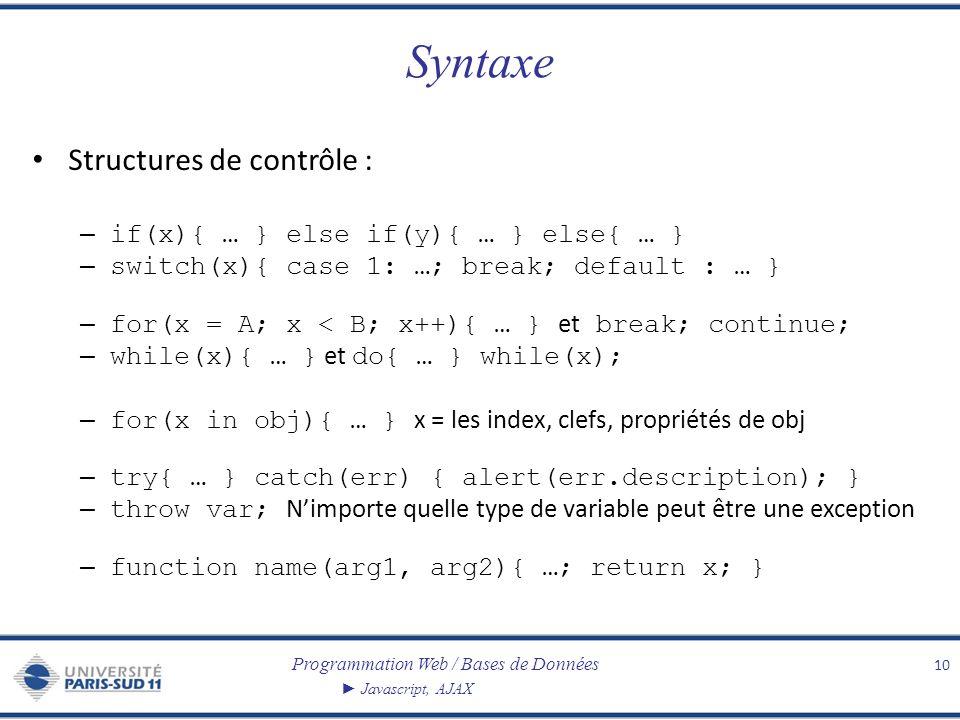 Programmation Web / Bases de Données Javascript, AJAX Syntaxe Structures de contrôle : – if(x){ … } else if(y){ … } else{ … } – switch(x){ case 1: …;