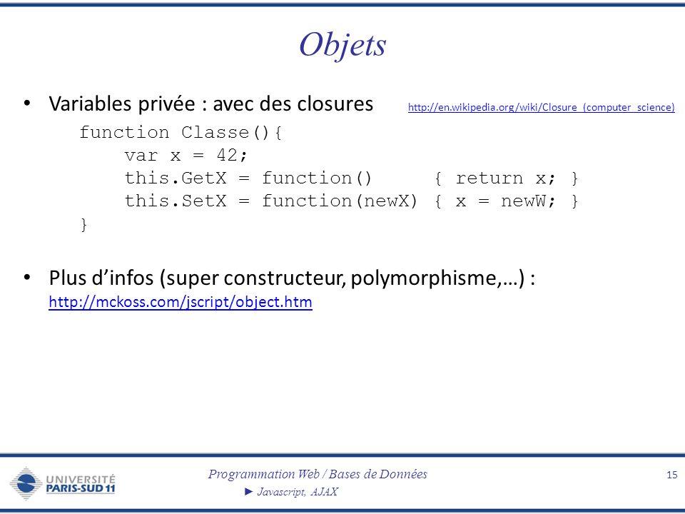 Programmation Web / Bases de Données Javascript, AJAX Objets Variables privée : avec des closures http://en.wikipedia.org/wiki/Closure_(computer_scien