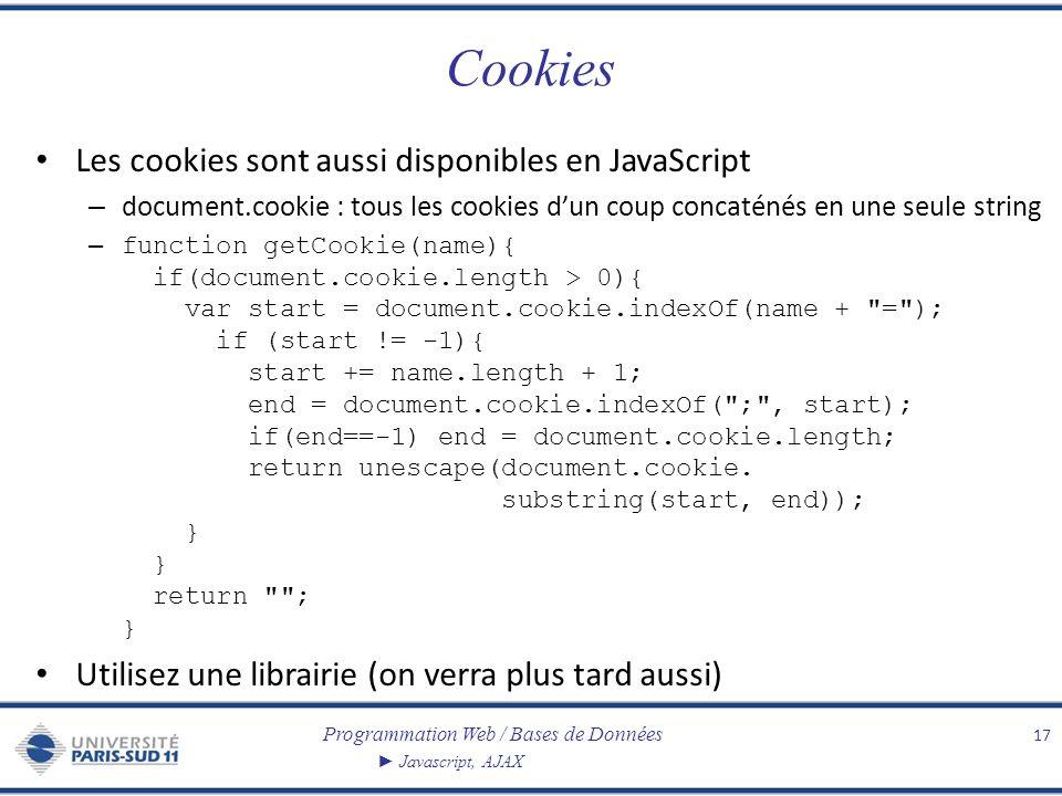 Programmation Web / Bases de Données Javascript, AJAX Cookies Les cookies sont aussi disponibles en JavaScript – document.cookie : tous les cookies du