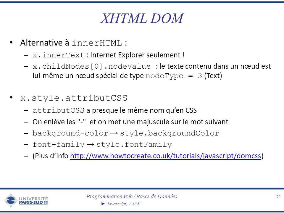 Programmation Web / Bases de Données Javascript, AJAX XHTML DOM Alternative à innerHTML : – x.innerText : Internet Explorer seulement .