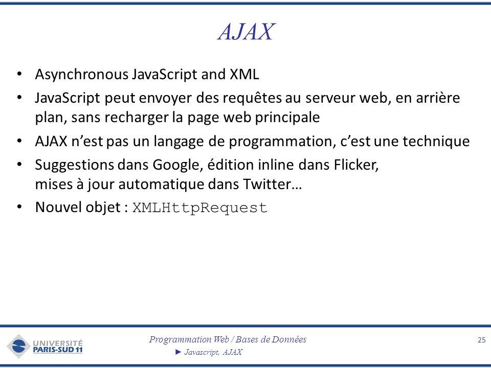 Programmation Web / Bases de Données Javascript, AJAX AJAX Asynchronous JavaScript and XML JavaScript peut envoyer des requêtes au serveur web, en arr