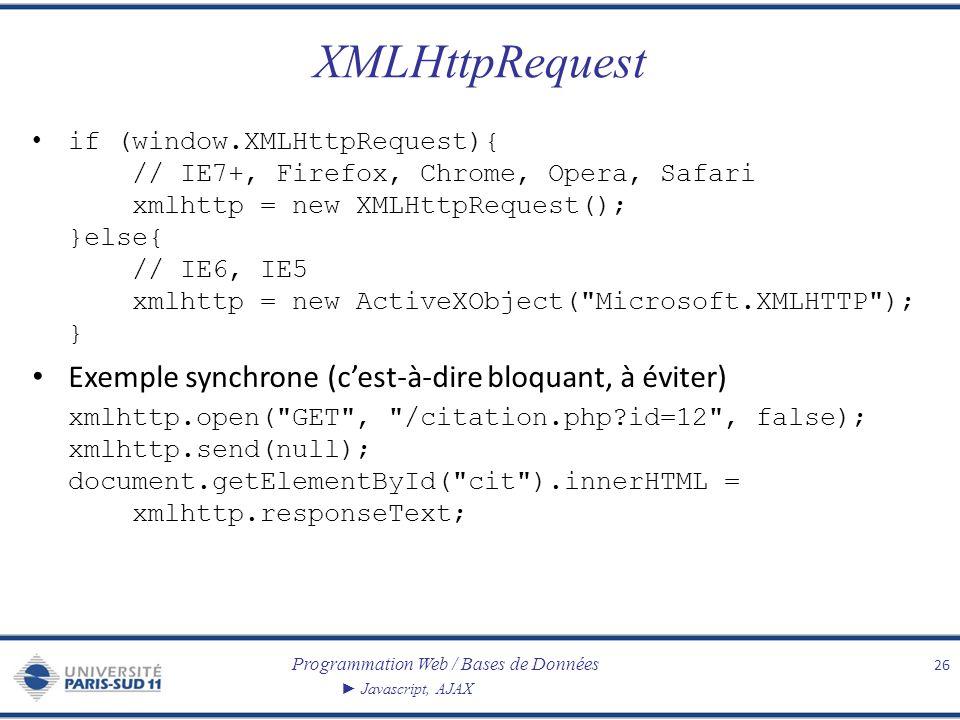 Programmation Web / Bases de Données Javascript, AJAX XMLHttpRequest if (window.XMLHttpRequest){ // IE7+, Firefox, Chrome, Opera, Safari xmlhttp = new