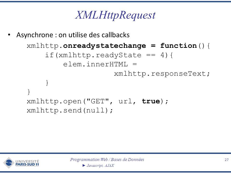 Programmation Web / Bases de Données Javascript, AJAX XMLHttpRequest Asynchrone : on utilise des callbacks xmlhttp.onreadystatechange = function(){ if