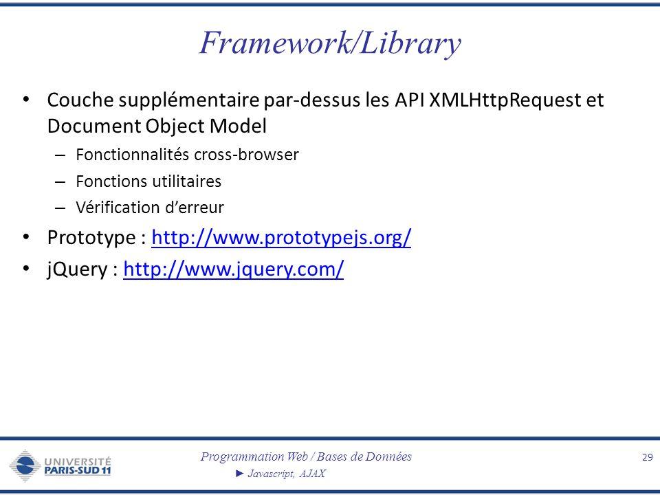 Programmation Web / Bases de Données Javascript, AJAX Framework/Library Couche supplémentaire par-dessus les API XMLHttpRequest et Document Object Mod