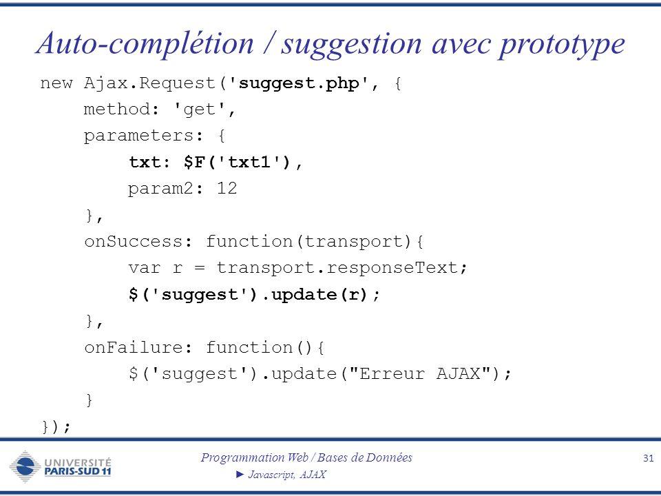 Programmation Web / Bases de Données Javascript, AJAX Auto-complétion / suggestion avec prototype 31 new Ajax.Request('suggest.php', { method: 'get',