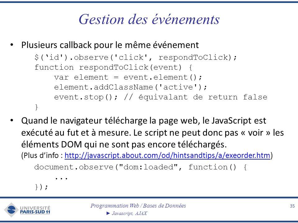 Programmation Web / Bases de Données Javascript, AJAX Gestion des événements Plusieurs callback pour le même événement $(id').observe('click', respond