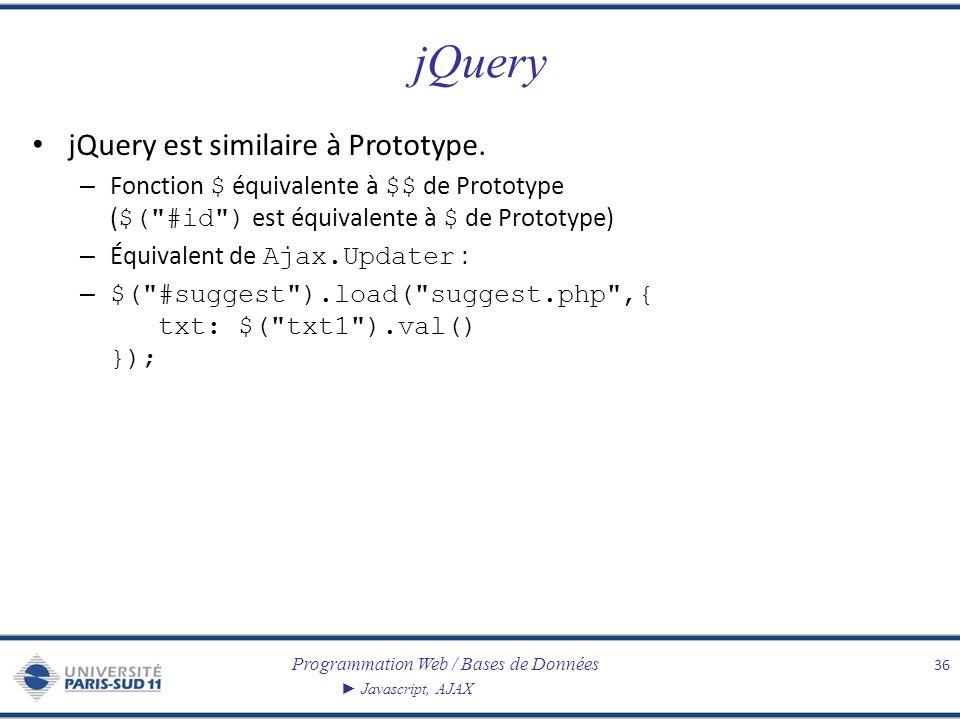 Programmation Web / Bases de Données Javascript, AJAX jQuery jQuery est similaire à Prototype. – Fonction $ équivalente à $$ de Prototype ( $(