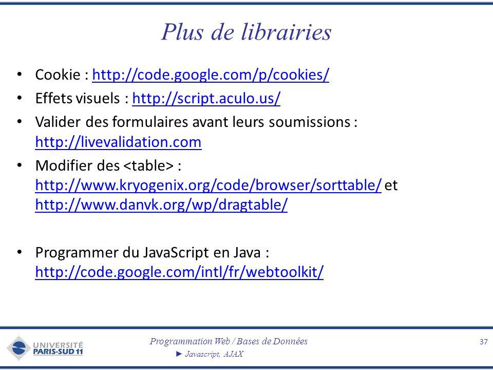 Programmation Web / Bases de Données Javascript, AJAX Plus de librairies Cookie : http://code.google.com/p/cookies/http://code.google.com/p/cookies/ E