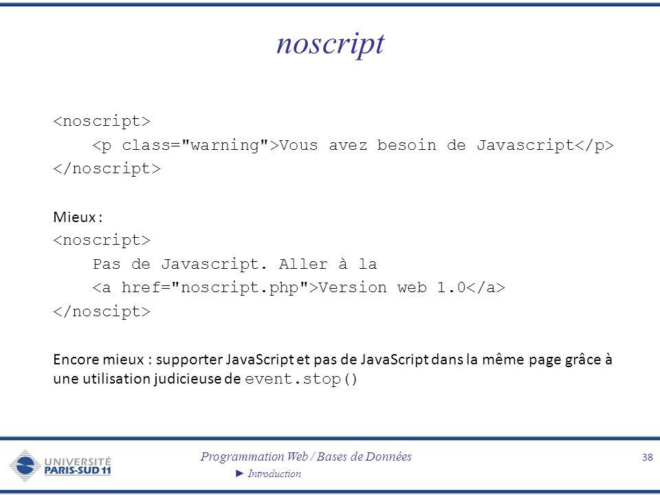 Programmation Web / Bases de Données Introduction noscript Vous avez besoin de Javascript Mieux : Pas de Javascript. Aller à la Version web 1.0 Encore