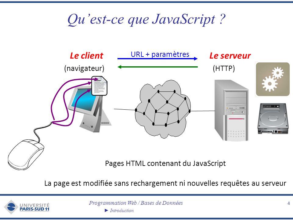 Programmation Web / Bases de Données Introduction Quest-ce que JavaScript ? 4 Le clientLe serveur (navigateur)(HTTP) URL + paramètres Pages HTML conte