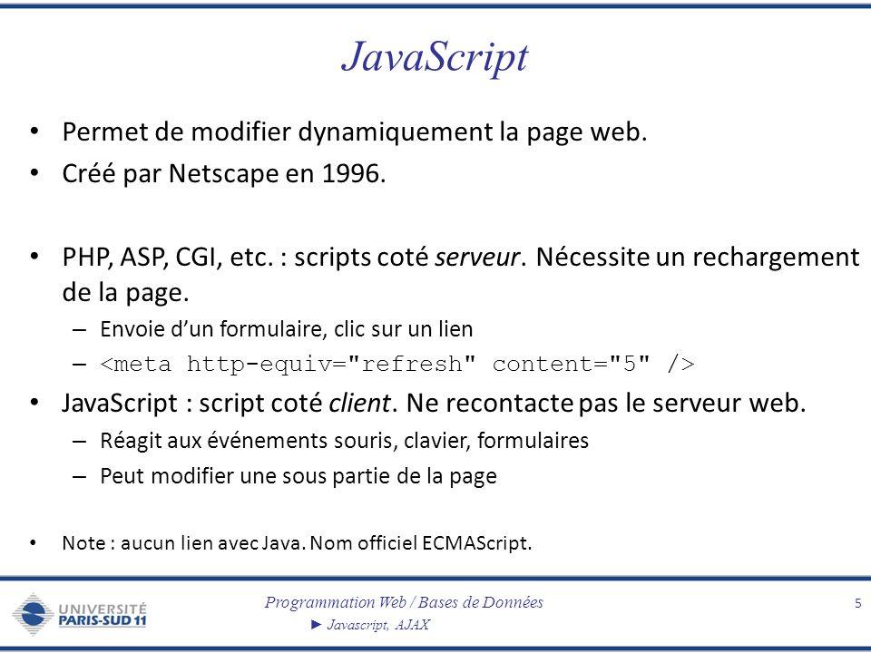 Programmation Web / Bases de Données Javascript, AJAX JavaScript Permet de modifier dynamiquement la page web. Créé par Netscape en 1996. PHP, ASP, CG
