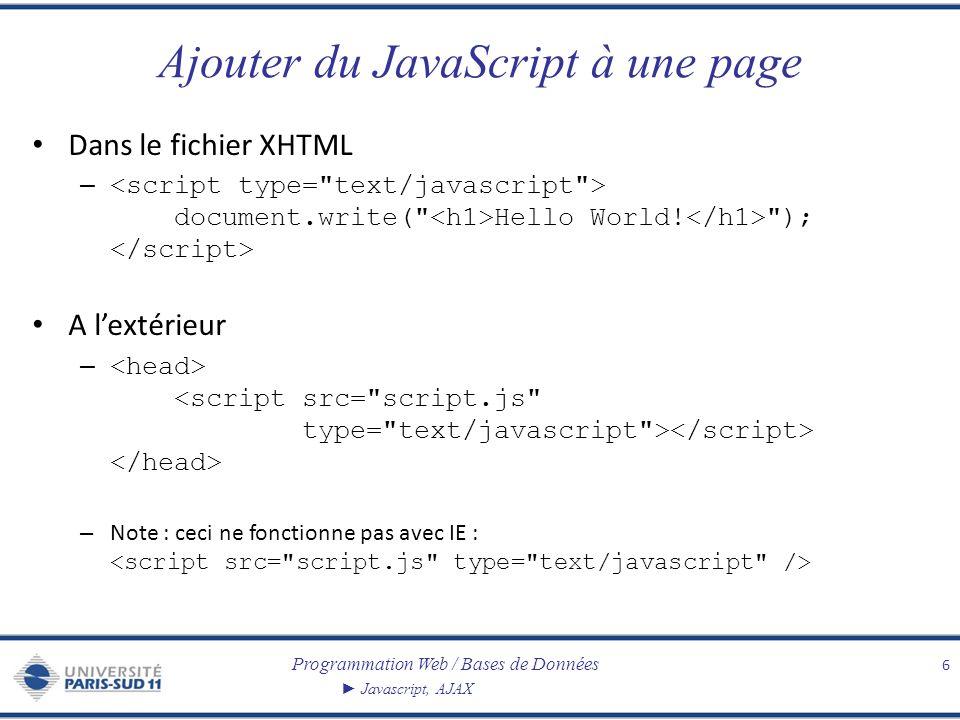 Programmation Web / Bases de Données Javascript, AJAX Ajouter du JavaScript à une page Dans le fichier XHTML – document.write(