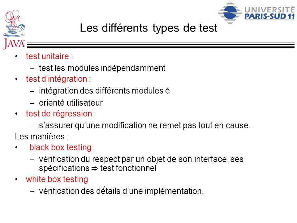 Les différents types de test test unitaire : –test les modules indépendamment test dintégration : –intégration des différents modules é –orienté utili