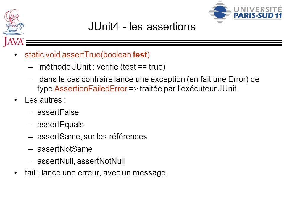 JUnit4 - les assertions static void assertTrue(boolean test) – méthode JUnit : vérifie (test == true) – dans le cas contraire lance une exception (en