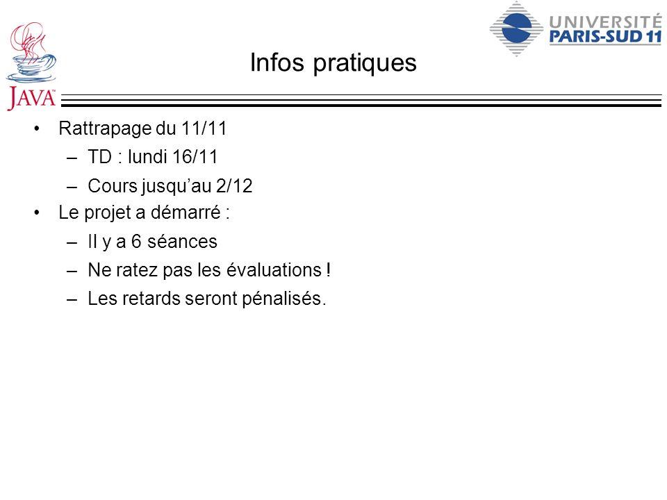 Infos pratiques Rattrapage du 11/11 –TD : lundi 16/11 –Cours jusquau 2/12 Le projet a démarré : –Il y a 6 séances –Ne ratez pas les évaluations ! –Les
