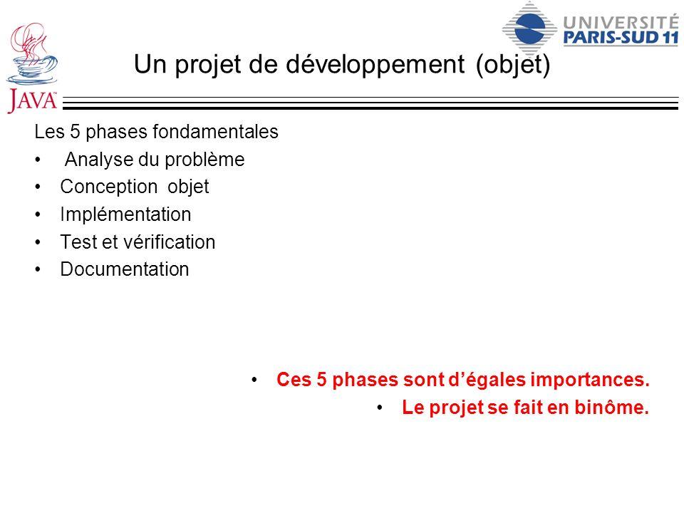 Un projet de développement (objet) Les 5 phases fondamentales Analyse du problème Conception objet Implémentation Test et vérification Documentation C