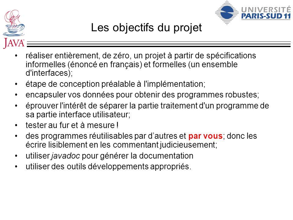 Les objectifs du projet réaliser entièrement, de zéro, un projet à partir de spécifications informelles (énoncé en français) et formelles (un ensemble
