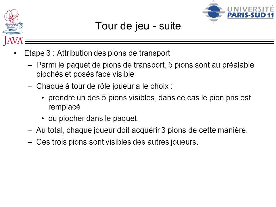 Tour de jeu - suite Etape 3 : Attribution des pions de transport –Parmi le paquet de pions de transport, 5 pions sont au préalable piochés et posés fa