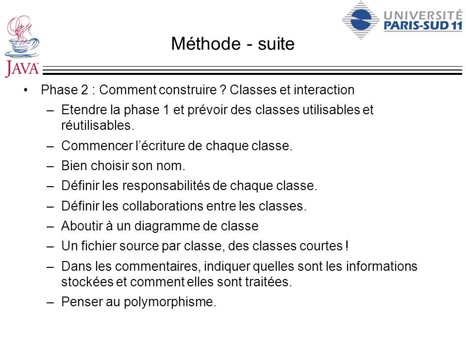 Méthode - suite Phase 2 : Comment construire ? Classes et interaction –Etendre la phase 1 et prévoir des classes utilisables et réutilisables. –Commen