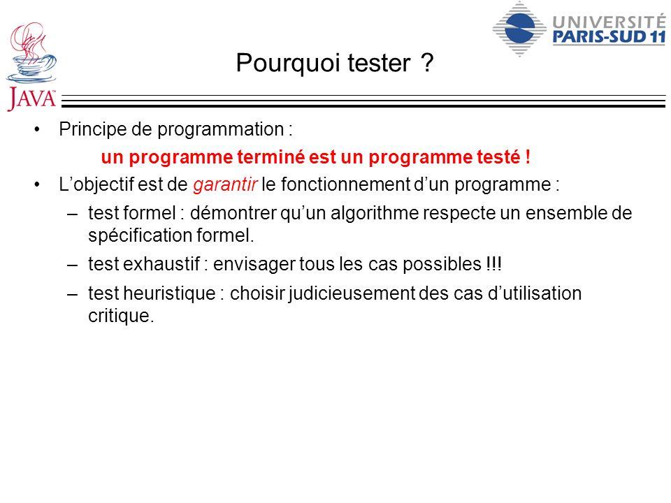 Pourquoi tester ? Principe de programmation : un programme terminé est un programme testé ! Lobjectif est de garantir le fonctionnement dun programme