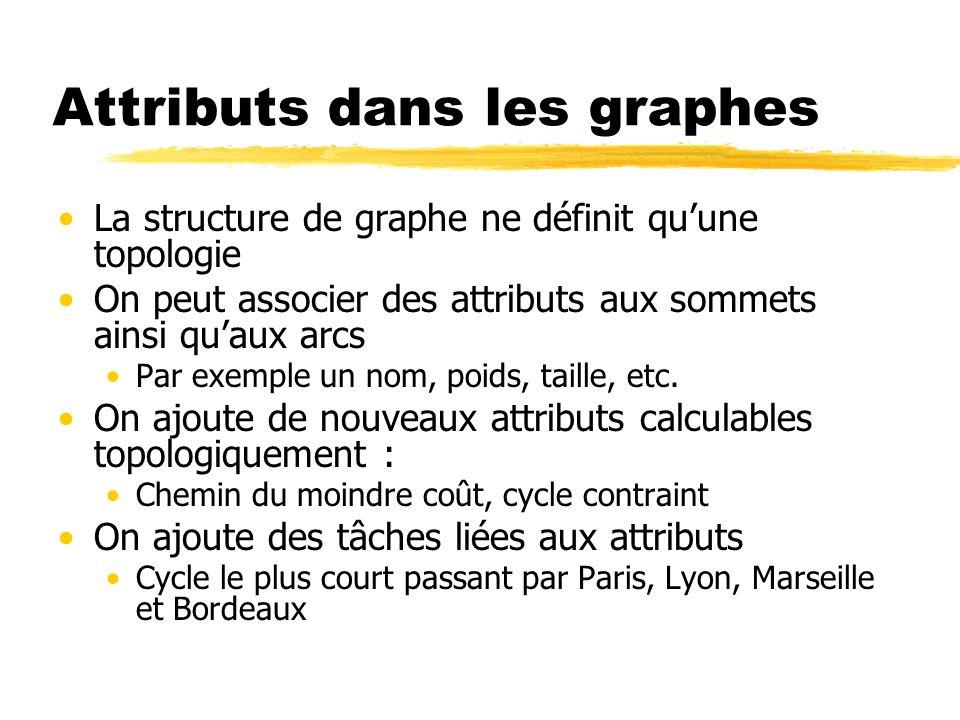 Attributs dans les graphes La structure de graphe ne définit quune topologie On peut associer des attributs aux sommets ainsi quaux arcs Par exemple u