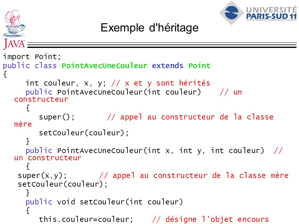 Exemple d'héritage import Point; public class PointAvecUneCouleur extends Point { int couleur, x, y; // x et y sont hérités public PointAvecUneCouleur
