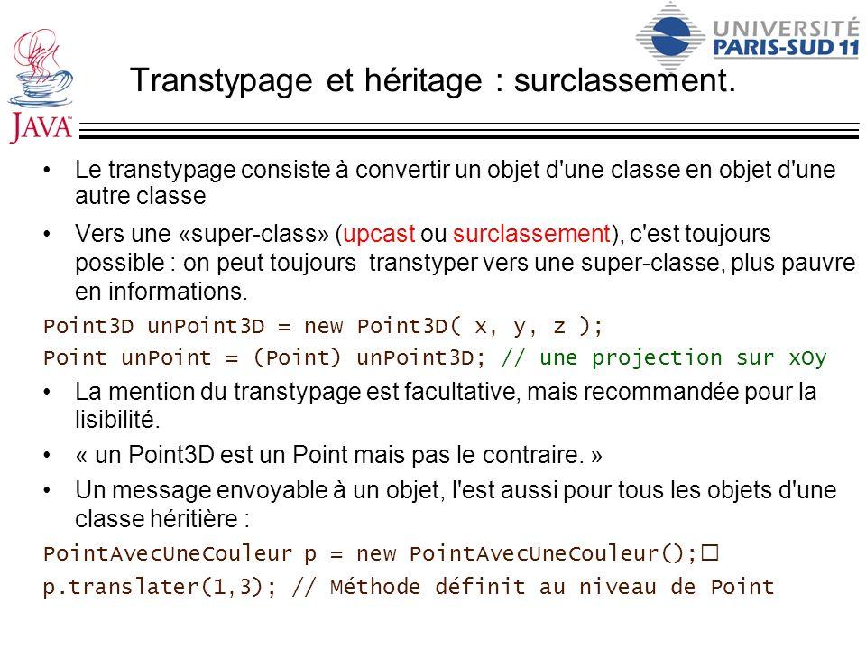 Transtypage et héritage : surclassement. Le transtypage consiste à convertir un objet d'une classe en objet d'une autre classe Vers une «super-class»