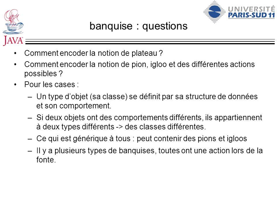 banquise : questions Comment encoder la notion de plateau ? Comment encoder la notion de pion, igloo et des différentes actions possibles ? Pour les c