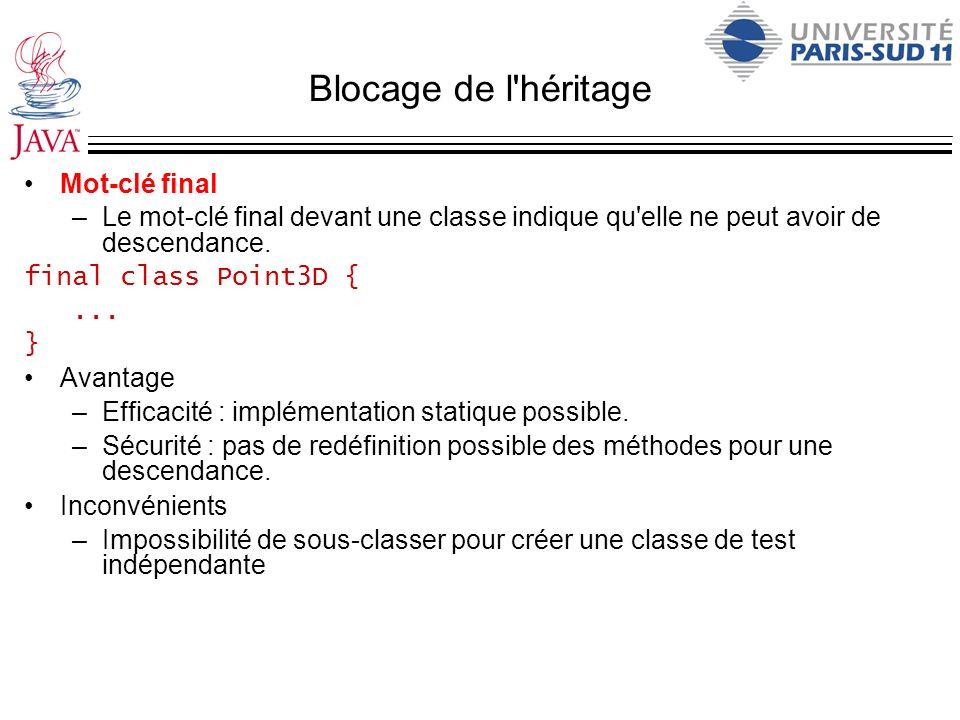 Blocage de l'héritage Mot-clé final –Le mot-clé final devant une classe indique qu'elle ne peut avoir de descendance. final class Point3D {... } Avant