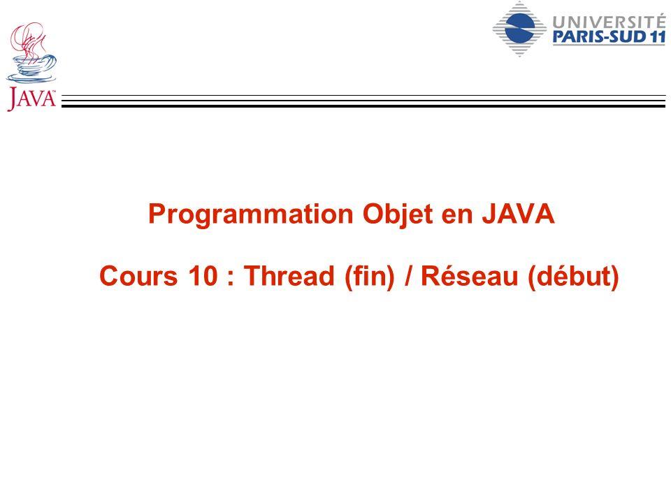 Un server http – 2 public class TinyHttpdConnection extends Thread { Socket sock; TinyHttpdConnection ( Socket s ) { sock = s; setPriority( NORM_PRIORITY - 1 ); start(); } public void run() { try { // Pour répondre OutputStream out = sock.getOutputStream(); // Pour traiter la requète String req = new DataInputStream(sock.getInputStream()).readLine(); System.out.println( Request: +req );