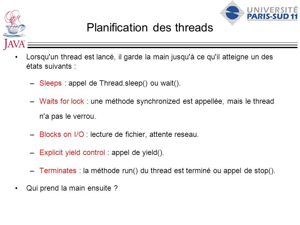 Planification des threads Lorsqu'un thread est lancé, il garde la main jusqu'à ce qu'il atteigne un des états suivants : –Sleeps : appel de Thread.sle