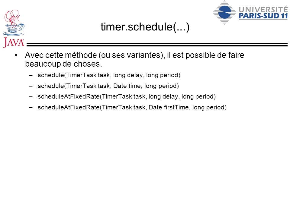 timer.schedule(...) Avec cette méthode (ou ses variantes), il est possible de faire beaucoup de choses. –schedule(TimerTask task, long delay, long per