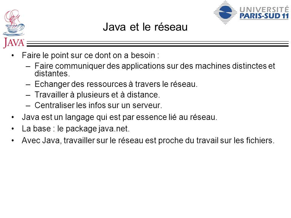 Java et le réseau Faire le point sur ce dont on a besoin : –Faire communiquer des applications sur des machines distinctes et distantes. –Echanger des