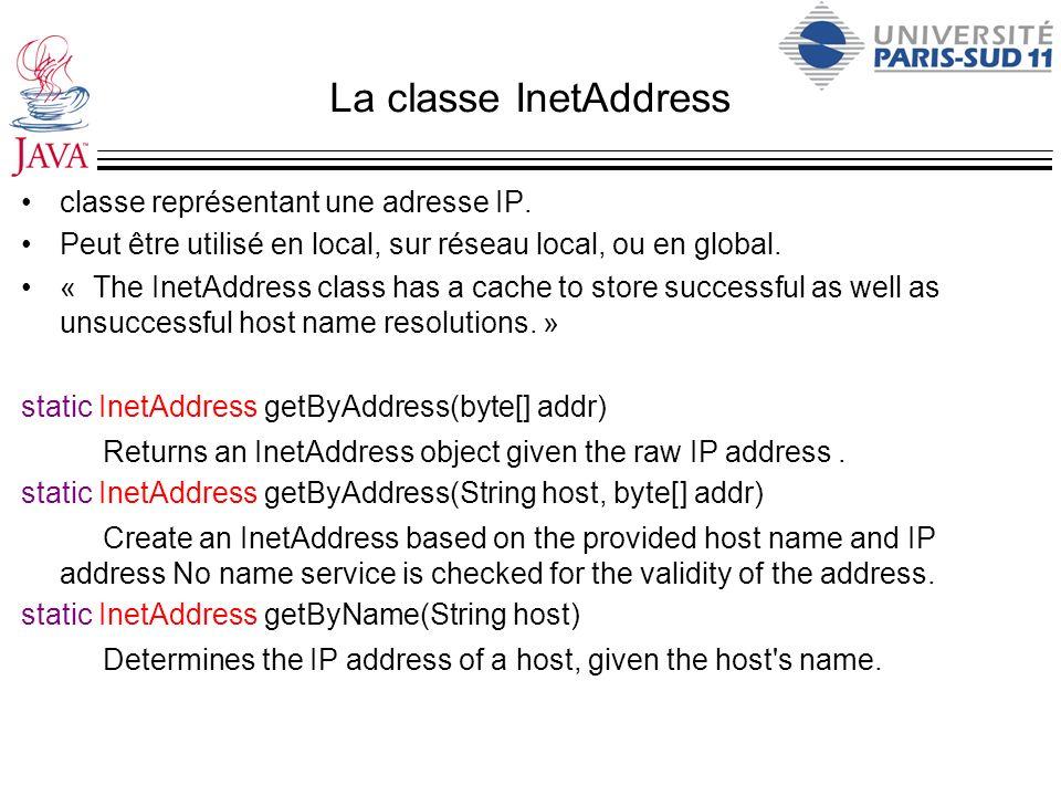 La classe InetAddress classe représentant une adresse IP. Peut être utilisé en local, sur réseau local, ou en global. « The InetAddress class has a ca