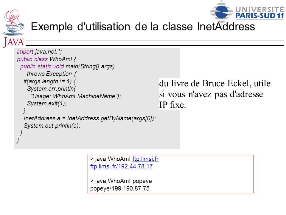 Exemple d'utilisation de la classe InetAddress import java.net.*; public class WhoAmI { public static void main(String[] args) throws Exception { if(a