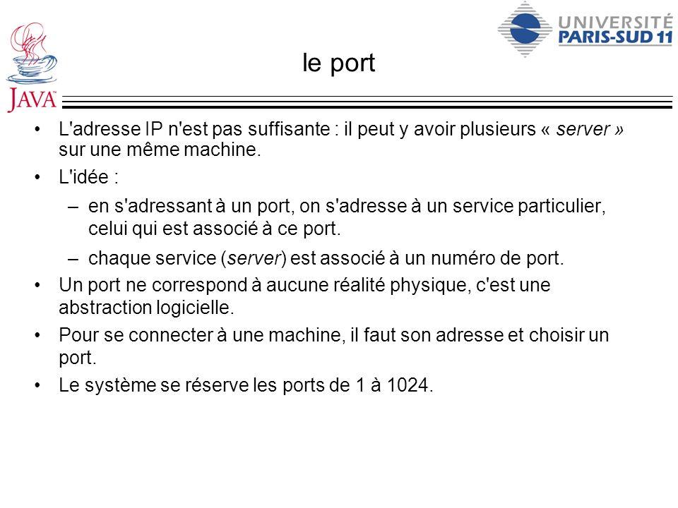 le port L'adresse IP n'est pas suffisante : il peut y avoir plusieurs « server » sur une même machine. L'idée : –en s'adressant à un port, on s'adress