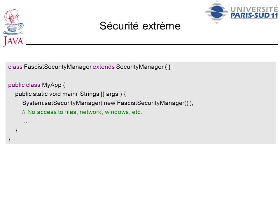 Sécurité extrème class FascistSecurityManager extends SecurityManager { } public class MyApp { public static void main( Strings [] args ) { System.set