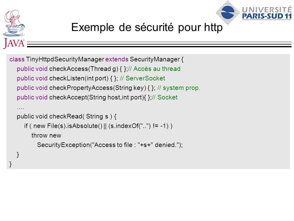 Exemple de sécurité pour http class TinyHttpdSecurityManager extends SecurityManager { public void checkAccess(Thread g) { };// Accès au thread public