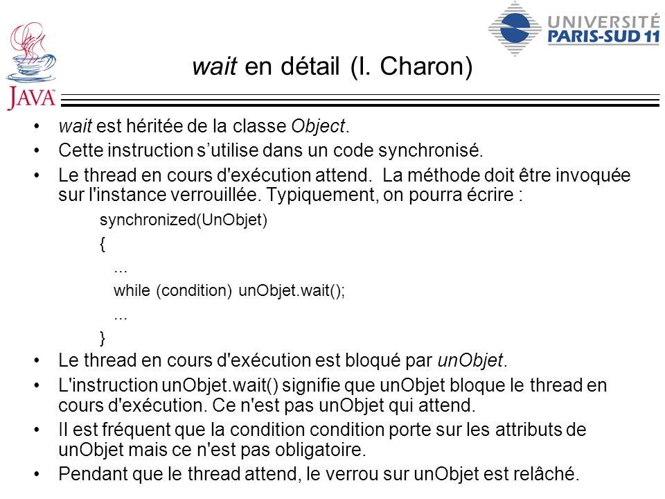 wait en détail (I. Charon) wait est héritée de la classe Object. Cette instruction sutilise dans un code synchronisé. Le thread en cours d'exécution a