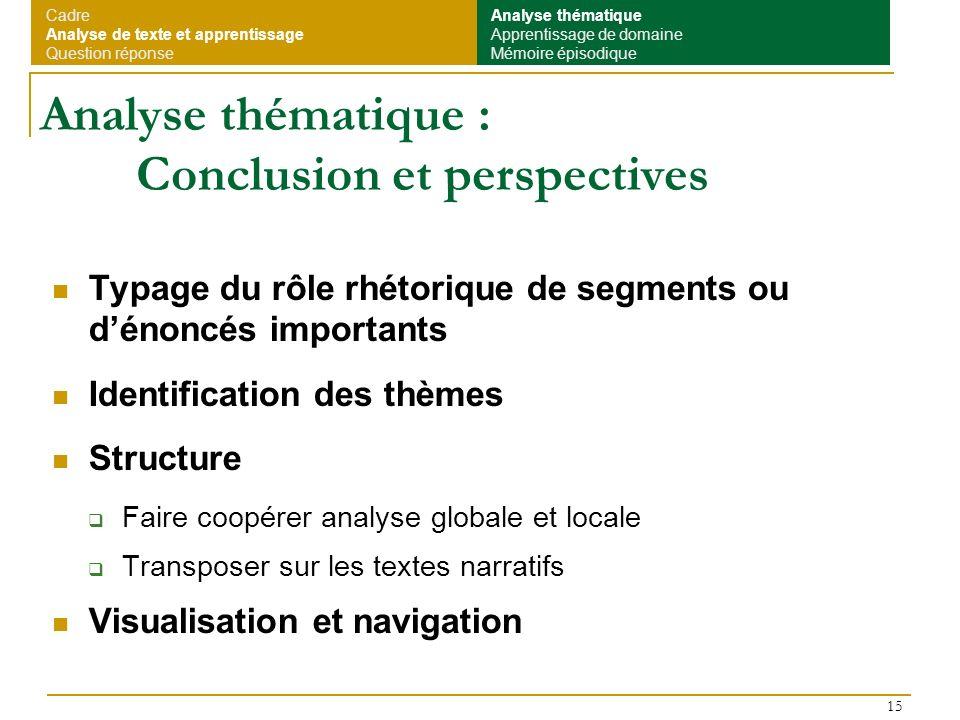 15 Analyse thématique : Conclusion et perspectives Typage du rôle rhétorique de segments ou dénoncés importants Identification des thèmes Structure Fa