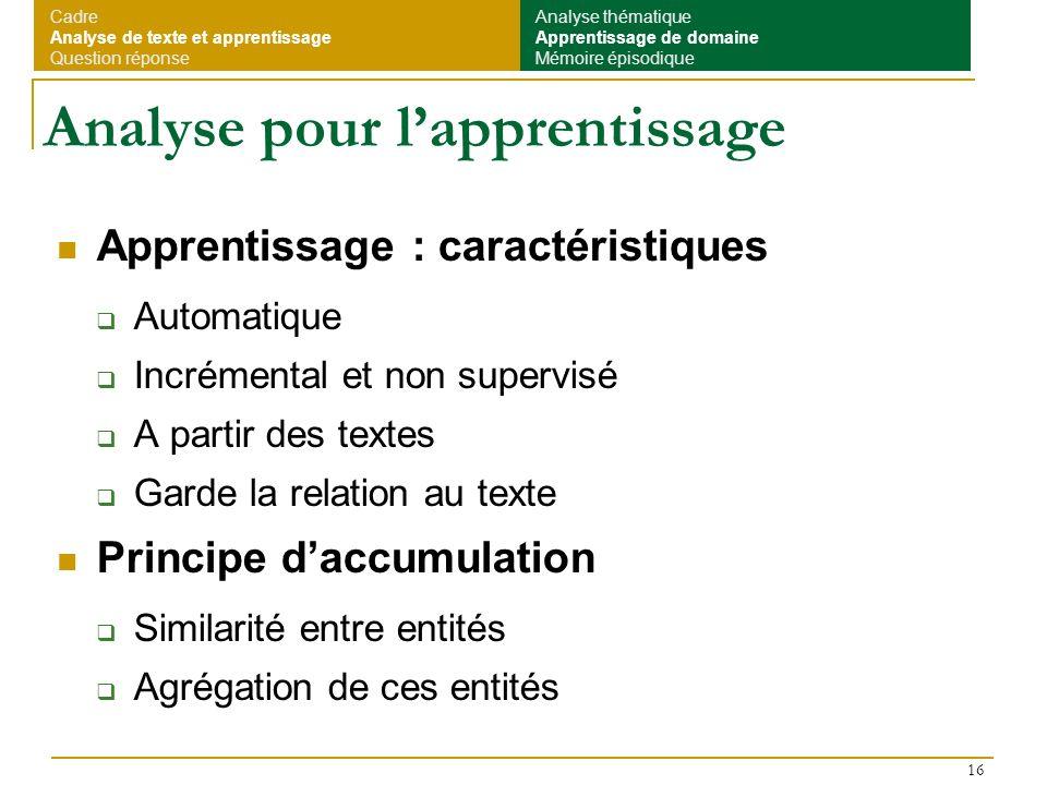 16 Analyse pour lapprentissage Apprentissage : caractéristiques Automatique Incrémental et non supervisé A partir des textes Garde la relation au text