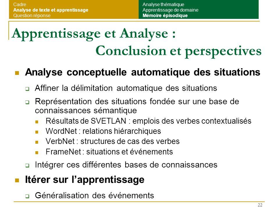 22 Apprentissage et Analyse : Conclusion et perspectives Analyse conceptuelle automatique des situations Affiner la délimitation automatique des situa