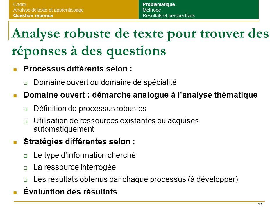 23 Analyse robuste de texte pour trouver des réponses à des questions Processus différents selon : Domaine ouvert ou domaine de spécialité Domaine ouv