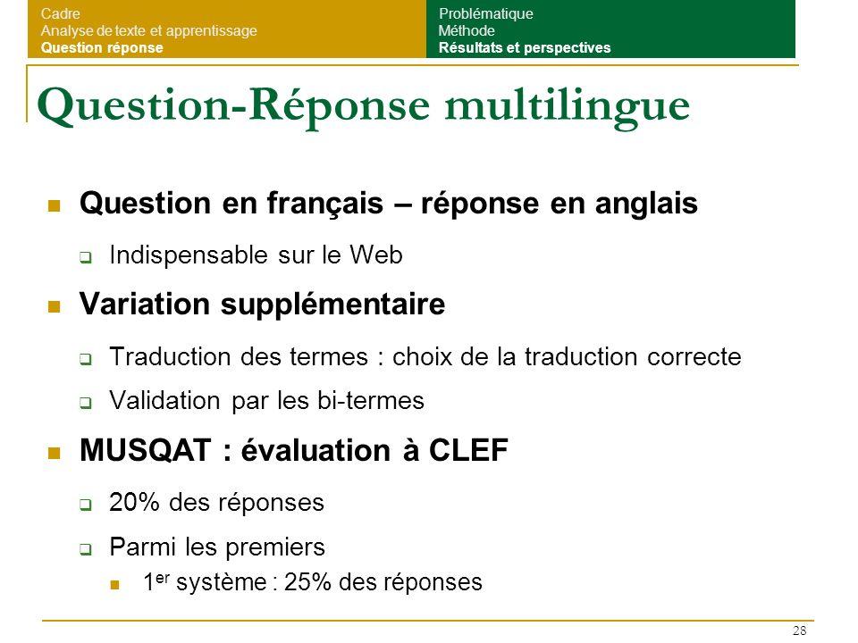 28 Question-Réponse multilingue Question en français – réponse en anglais Indispensable sur le Web Variation supplémentaire Traduction des termes : ch