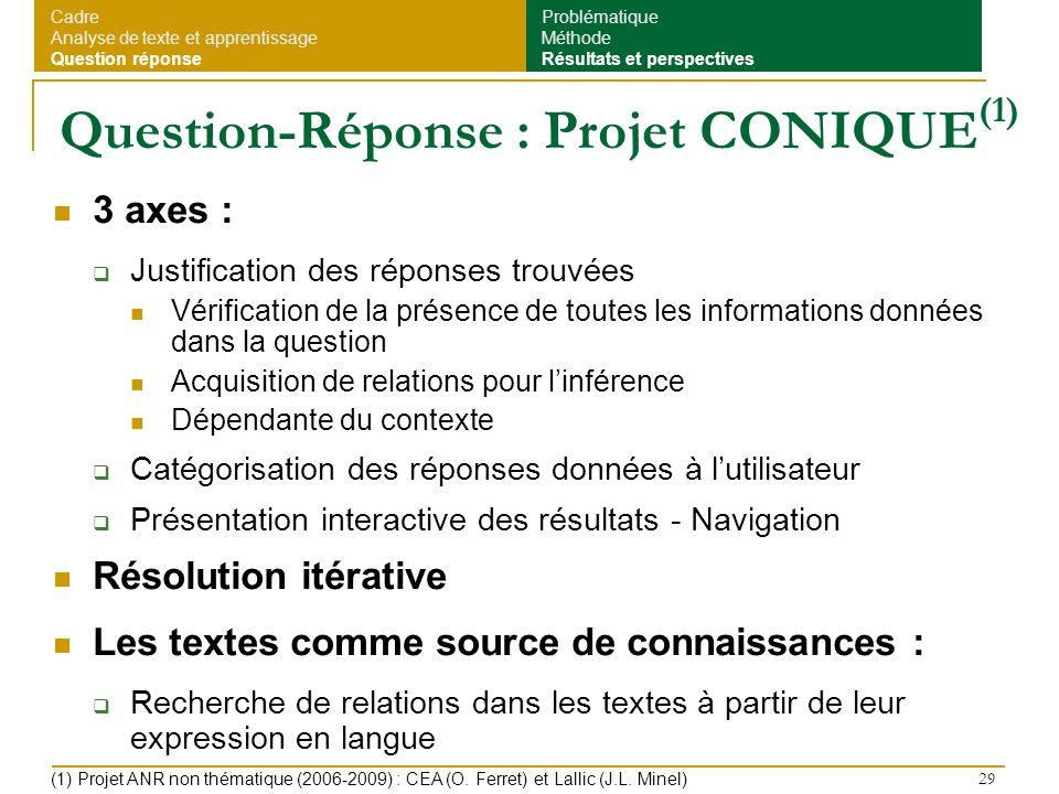 29 Question-Réponse : Projet CONIQUE (1) 3 axes : Justification des réponses trouvées Vérification de la présence de toutes les informations données d