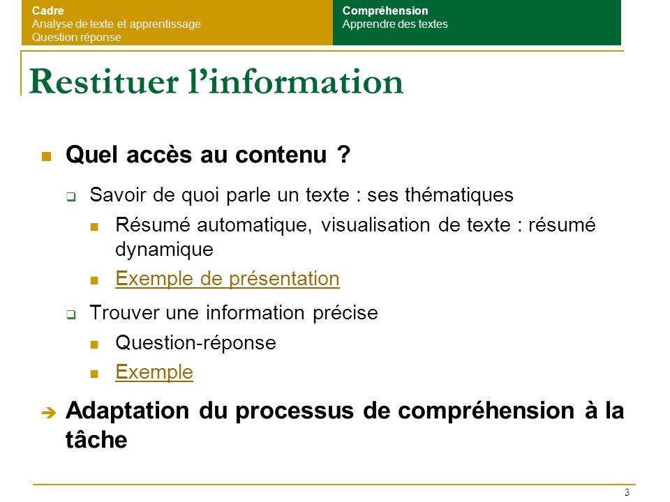 3 Restituer linformation Quel accès au contenu ? Savoir de quoi parle un texte : ses thématiques Résumé automatique, visualisation de texte : résumé d