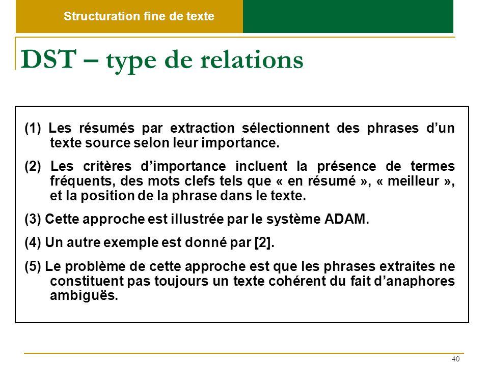40 DST – type de relations (1) Les résumés par extraction sélectionnent des phrases dun texte source selon leur importance. (2) Les critères dimportan