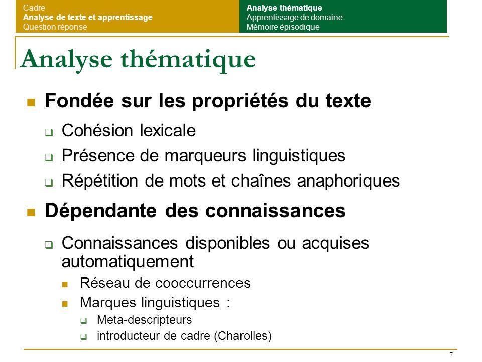 8 Segmentation thématique Méthodes développées Mesure de la cohésion avec un réseau de cooccurrences Textes narratifs (SEGCOHLEX, Olivier Ferret) Méthode mixte (projet REGAL (1) ) Textes expositifs De type TextTiling (Hearst) : Pas de ressources utilisées : répétition et répartition des mots Marques linguistiques Indiquent des débuts de segment ou des regroupements (1) Projet Cognitique (2000-2003) : CEA (O.